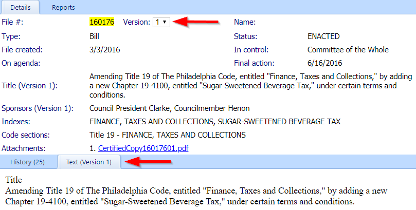 Details view Bill 160176 with arrows to different versions
