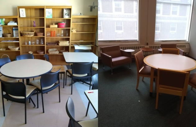tables, chairs and bookcases