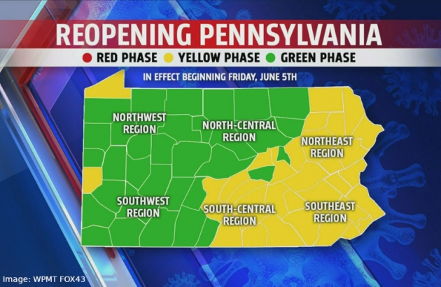 Yellow-Green Map of Pennsylvania