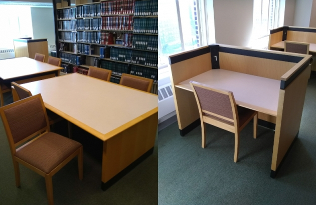 tables, chairs and carrels