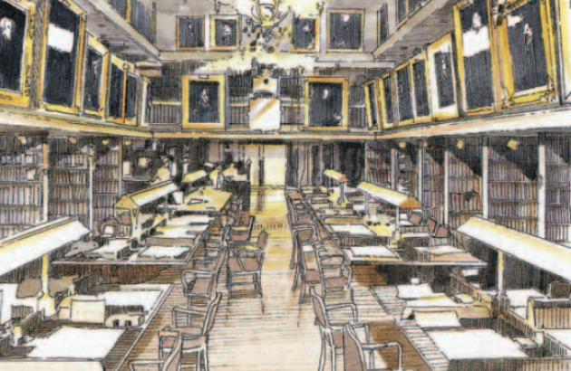 Rendering of Jenkins Law Library in Room 600, Philadelphia City Hall