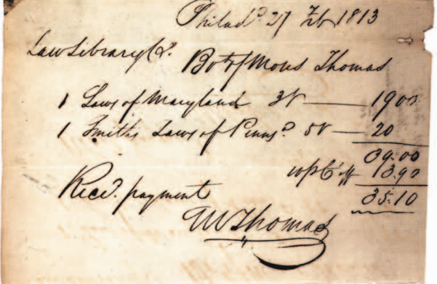 Receipt for two law books from 1813