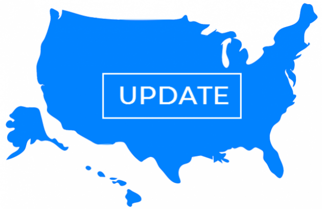 Blue image of the United States on a white background. The word UPDATE is blazed across the center.