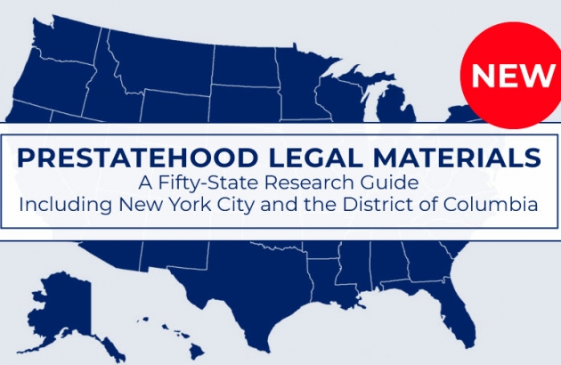 """Map of US with the words """"Prestatehood Legal Materials"""" superimposed over it."""